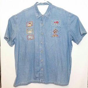 VTG Bobbie Brooks Denim Button Shirt Embroidered